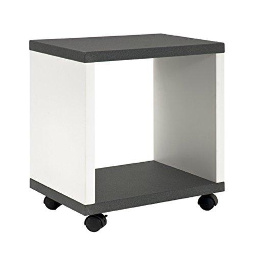 Haku Möbel 87584 Beistellwagen MDF, granitoptik/weiß, 30 x 43 x 48 cm