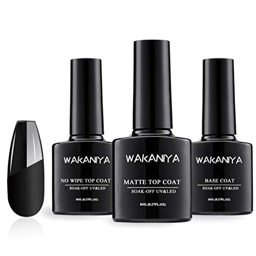 Wakaniya Base y Top coat Semi-permanentes Mate Brillante No Wipe Secado Rápido Esmaltes para Uñas Capa Superior Base UV/LED Gel Polish 8ml x 3