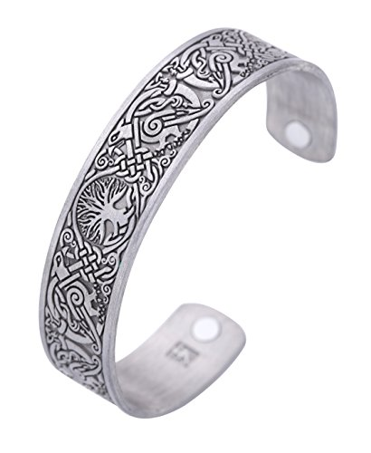 Viking Tree of Life Hugin Munin Raven Magnetic Barcelet, Celtic Knot Bangle (antique silver)