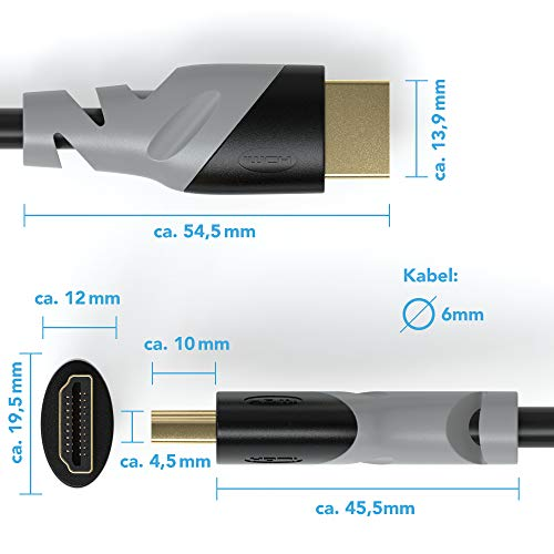 2m - Ultra HD 4k HDMI Kabel 1.4a/2.0 | High Speed Ethernet | Kabel 3 Fach geschirmt/inkl. Stecker- und Kontaktschirmung | 4K Ultra HD 2160p / Full HD 1080p | 3D / ARC/CEC | Zwei Meter