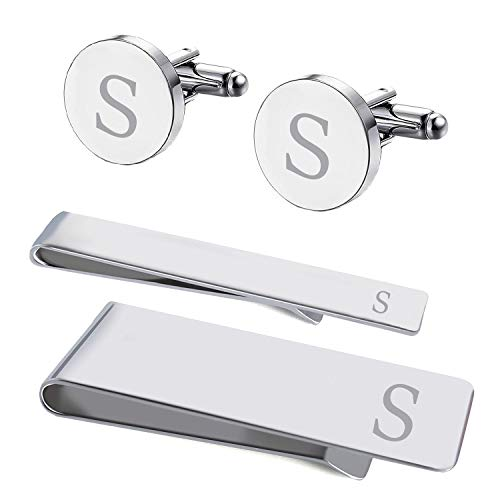 BodyJ4You 4PC Cufflinks Tie Bar Money Clip Button Shirt Personalized Initials Letter S Gift Set