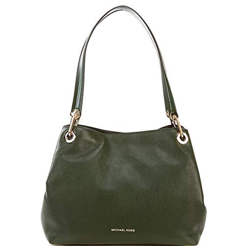 Made of smooth pebbled leather; Open top with snap closure; 2 open compartments on both side and snap closure Large Middle zip compartment; Doubles Shoulder strap with chain link accenting at the strap; Zip pocket inside 4 Slide pocket and key hook; ...
