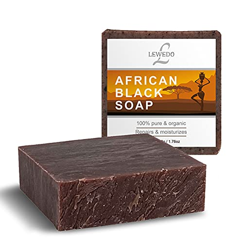 CIWICH African Black Soap - Natural Soap With Shea butter & Vitamin E, Deep cleansing & Skin Lightening Organic Soap, Body & Face Wash 1.76oz