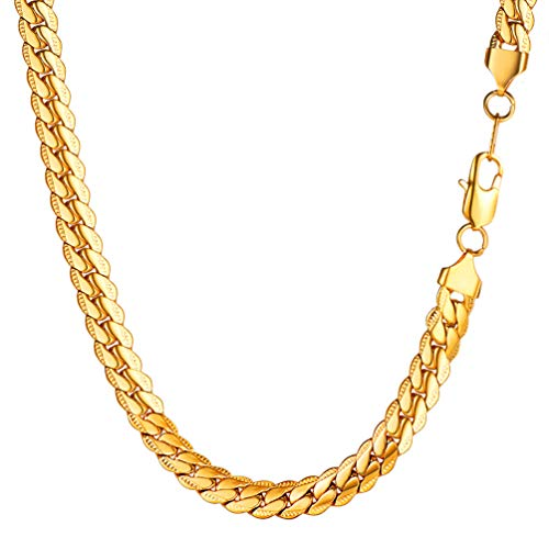 PROSTEEL Panzerkette 8MM breit Herren Halskette 18k vergoldet Erbskette Gliederkette 46cm/18 Kettelänge Biker Punk Rock Schmuck Männer Jungen