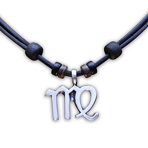 HANA LIMA 1 von 12 Sternzeichen Tierkreiszeichen an Verstellbarer Halskette Horoskop Horoscope Lederkette Surferkette F - Jungfrau (Virgo) - 24. August - 23. September