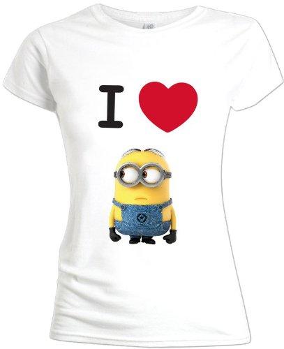 Mi villano favorito 2 - Camiseta de manga corta para mujer 'I love minions', color blanco, talla L [Italia]