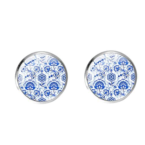 Pendientes de tuerca de porcelana azul y blanco temperamento para mujeres niñas exquisitas flores arte patrón de cristal gema redonda oreja uñas
