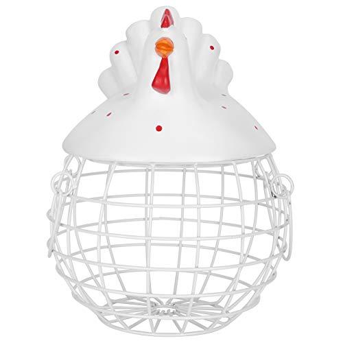 Egg Storage Basket Chicken Shape Simple Kitchen Egg Dispenser Rack Iron Woven Metal Rack Decorative Ornaments Kitchen Craft (White)