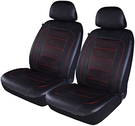 PIC AUTO Luxury Car Seat Covers Front Seat Only Double Layered Perforated PU Leather Heavy Duty product image