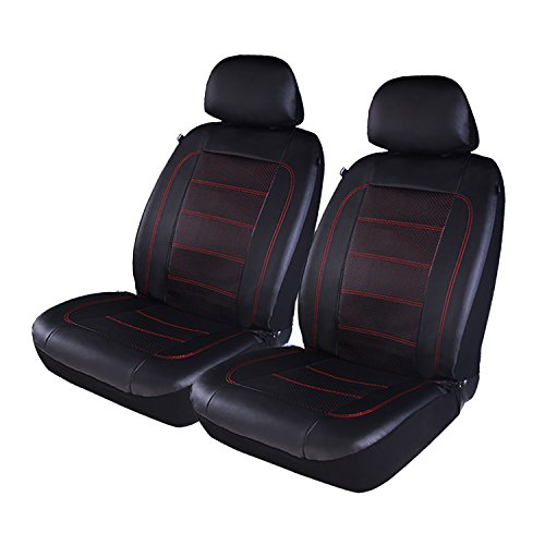 PIC AUTO Luxury Car Seat Covers, Front Seat Only, Double Layered Perforated PU Leather, Heavy Duty Fit Most Cars, SUVs and Vans Low Back(4PCS) (Red)