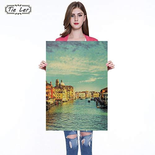 Famosa Ciudad turística de Venecia Bares Cocina Dibujo Cartel Adorno Vintage Poster Retro Wall Sticker 51X36cm
