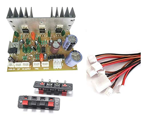 ERH India 2.1 Home Theater Kit Board Amplifier Circuit with Bass Boost and Treble Support TDA2030 Based with Connecting Wires