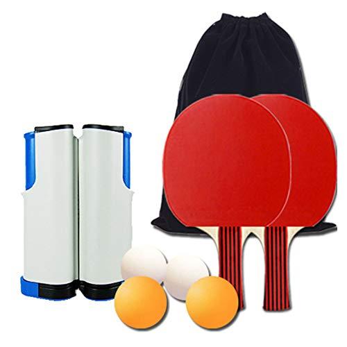 Tafeltennisset, tafeltennisset met uitschuifbare tafeltennisnetten 2 knuppels 4 ballen en draagtas Kinderen Volwassenen Spel voor binnen en buiten voor school, thuis, sportclub, kantoor