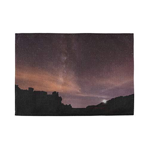 SUUJ Mantel Individual Noche Estrellada Vía láctea sobre Tenerife, tapetes Antideslizantes Resistentes al Calor, Aptos para Mesa de Comedor Cocina de hogar Oficina y Exterior, Juego de 4