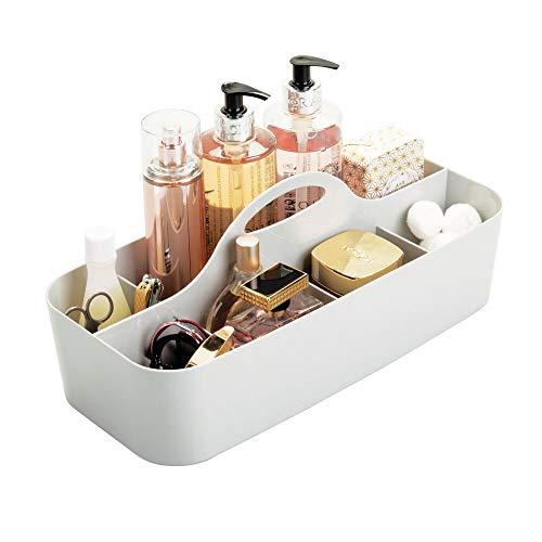 mDesign Badezimmer Korb mit 11 Fächern - Organizer Dusche und Bad - große Aufbewahrungsbox mit Griff - für Duschgel, Shampoo, Rasierer - grau