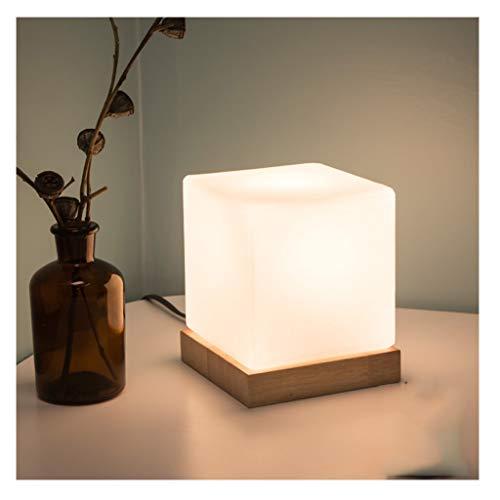 Sänglampa, modern minimalistisk design-skrivbordslampa med Cube Glass Shade och massivt trä sockel, perfekt för sovrum, byrå, vardagsrum, barnrum, studenthem, soffbord, kontor