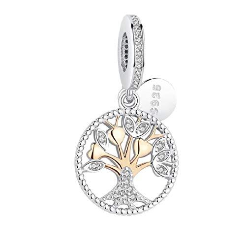FeatherWish - Colgante de plata de ley 925 con diseño de árbol de la vida con circonita cúbica para pulsera Pandora