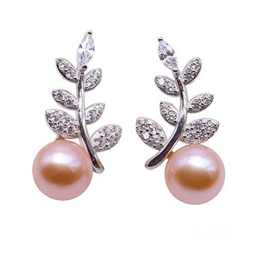 JYX AAA Sterling Silber Ohrstecker Perle Silber Ohrringe 7 mm Süßwasserperlen Ohrstecker Ohrring Leaf, Streifendesign
