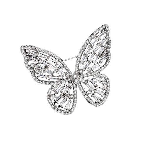 Yazilind Broschen Pins Elegant Hohl Kristall Schöne Schmetterling Entwickelt Brosche für Hochzeit Prom Silber