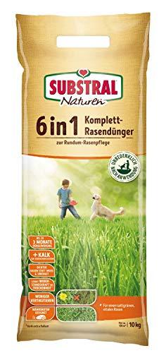 Substral Naturen 6in1 Komplett Rasendünger, mit Sofort und Langzeitwirkung zur ganzjährigen Rundum- Rasenpflege mit Extra Kalk und Kalium, 10 kg für 135 m²