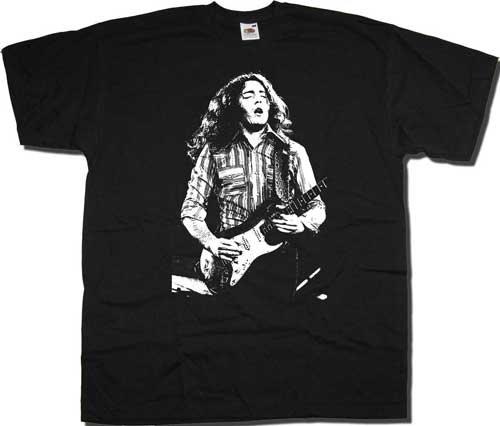 Old Skool Hooligans Rory Gallagher Camiseta–On Stage Photo Negro S