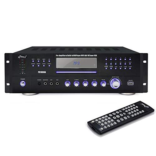 4 Channel Pre Amplifier Receiver - 1000 Watt Compact Rack Mount Home Theater Stereo Surround Sound Preamp Receiver W/ Audio/Video System, CD/DVD Player, AM/FM Radio, MP3/USB Reader - Pyle PD1000A