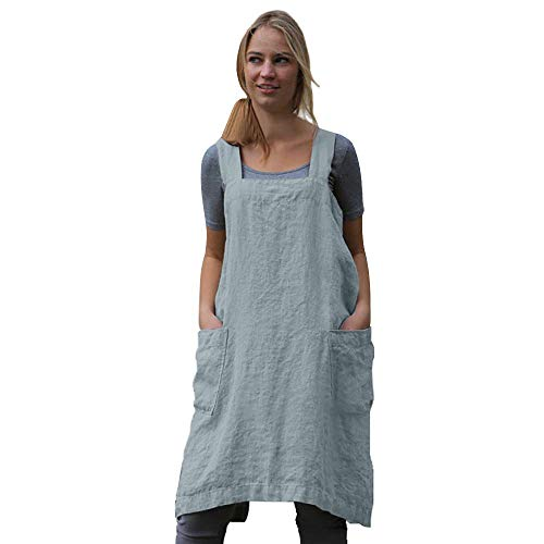 Women's Pinafore Square Apron Baking Cooking Gardening Works Cross Back Cotton/Linen Blend Dress with 2 Pockets Light Blue-M