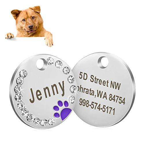 Lai-LYQ Hundemarke, 5 Stück Personalisierte Gravierte Haustier Runde Anti-verlorene Pfote Strass ID Namensschilder Ring Kragen Anhänger Schlüsselanhänger Rosa 5 Stück