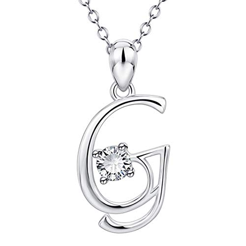 Richo 925 Sterling Silver Necklace Cubic Zirconia Letter Necklaces with Crystal, A-Z Alphabet Name Personalized Pendant for Women