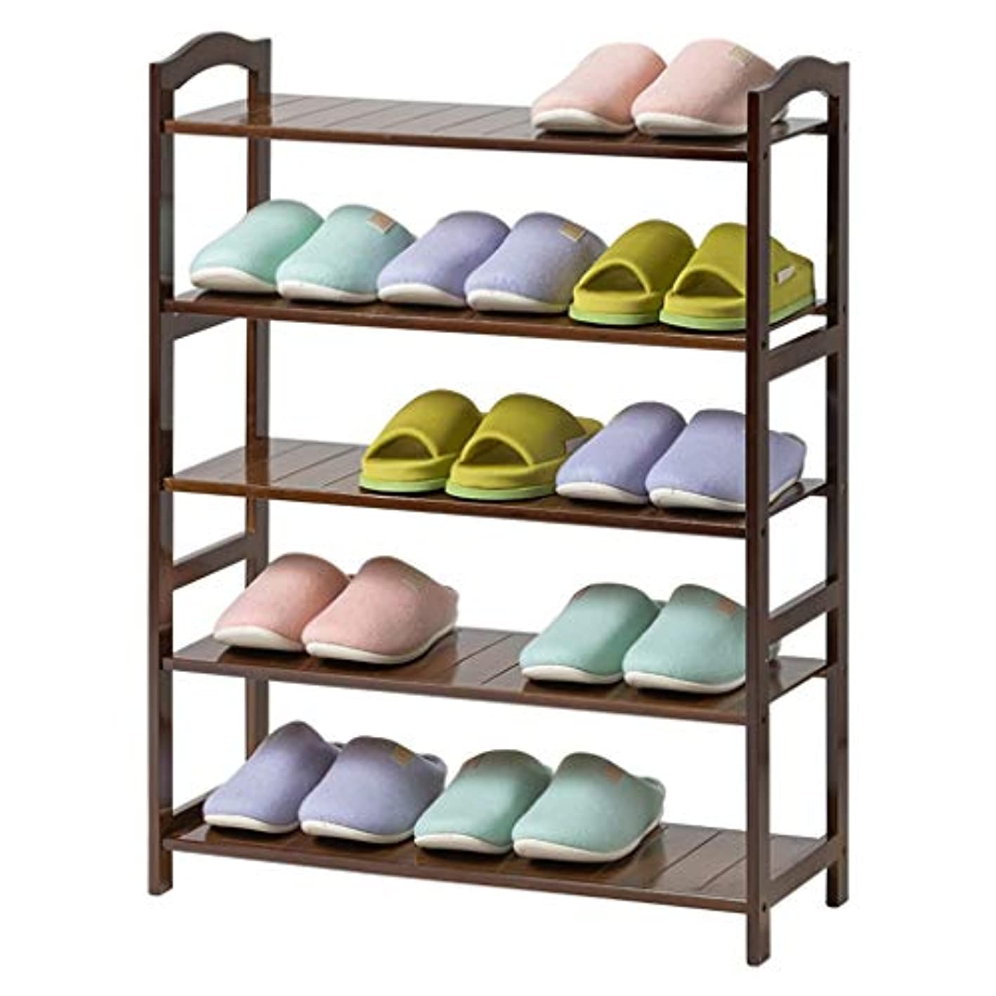 HTDZDX Bedroom Corridor Walnut Shoe Rack 6 Layers Save Space Storage Organizer Bamboo Shelf
