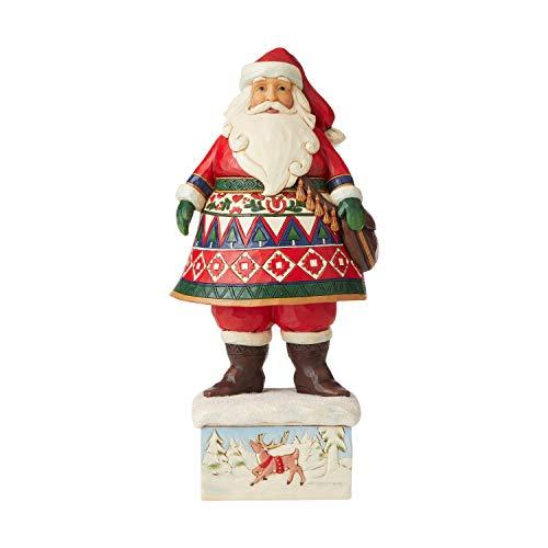 Enesco Jim Shore Heartwood Creek Lapland Santa on Base Figurine, 10-inch Height