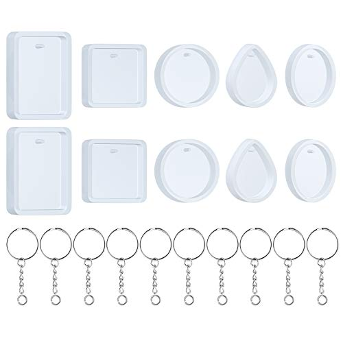Silicone Resin Molds, 20 Pcs Silicone Molds for Resin Jewelry Casting Molds with Keychain Rings for DIY Craft Jewelry Making