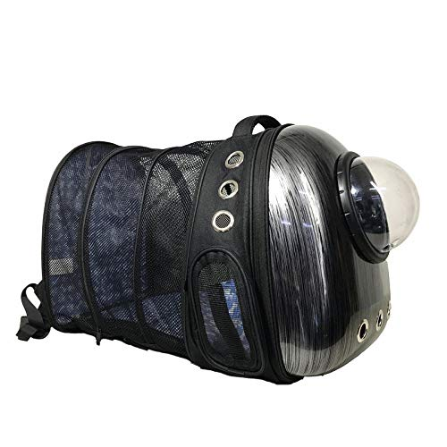 Mochila portátil para Mascotas/Gatos/Perros/Cachorros Burbuja transportadora Extensible Volver Más Mochila para Mascotas Space Airline Approved @ Black_32 x 42 x 29 cm