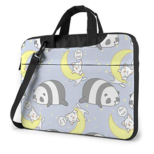Laptop Bag Protective Notebook Computer Protective Cover Anti-Scratch Handbag Cute Pande and Cat in Good Night Theme