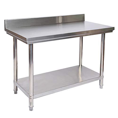 WilTec Mesa de Trabajo con alzatina de Acero Inoxidable para Cocina 120x60x85 cm