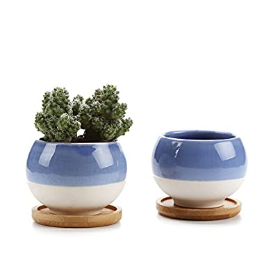 T4U Small Succulent Planters Pots, 3'' Ball Shape Clay Pots Cactus Container Window Boxes with Bamboo Tray, Blue Set of 2