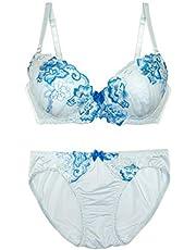 Moca&Bunny 《サイズ幅広!大胆な刺繍の花がキュート》ブラ ショーツ セット 下着 女性 水色 可愛い 綺麗
