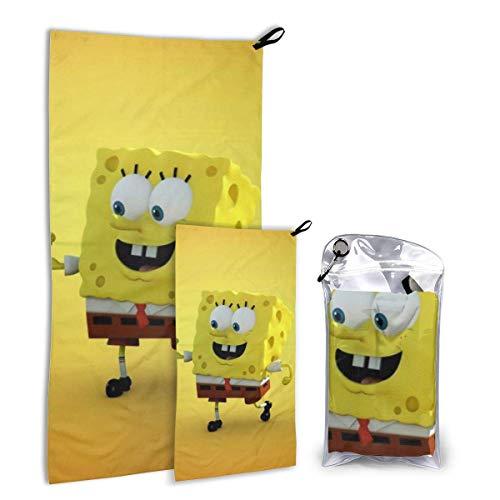 RGFDF Spongebob Schwammkopf Schnelltrocknendes Handtuch Zweiteilig mit tragbarer Netztasche Superleichte Absorption und Schnelltrocknung für Sportreisen Strand Camping Mikrofaser-Handtuch-Set