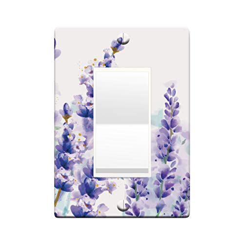 Embossi Printed Maxi Metal Watercolor Lavender Switch Plate - Light Switch/Outlet Cover, L0167 (1-gang rocker)