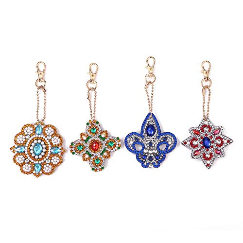 4pcs DIY 5D Diamond Painting Keychains Full Drill Special Shaped Diamond Painting Keychain Pendant Gifts
