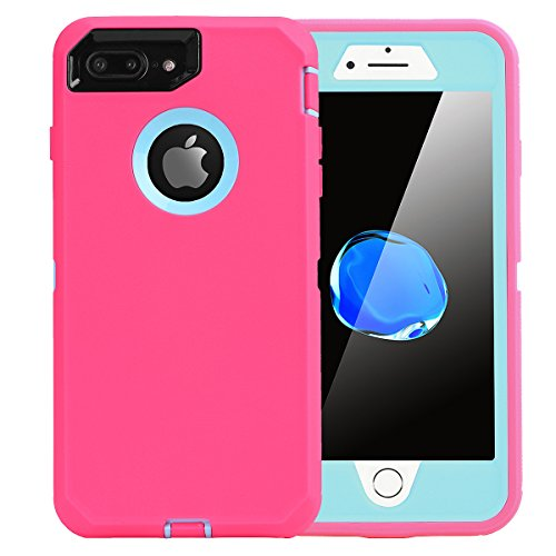iPhone 8 Plus/7 Plus Case, AICase [Heavy Duty] [Full Body] Tough 4 in 1 Rugged Shockproof Cover with Built-in Screen Protector for Apple iPhone 8 Plus/7 Plus (Light Blue/Pink)