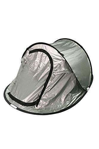 Mountain Warehouse Black Out Doppelschichtiges Pop-up-3-Personen-Zelt - Reflektierende Details, wasserbeständig, Zeltboden, atmungsaktiv - Für Camping, Sonne, Outdoor Silber