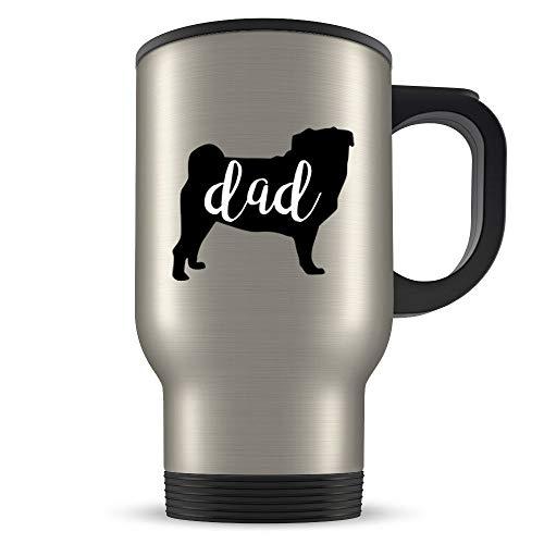 Taza de viaje, regalo de carlino para hombres, regalo de carlino, taza de carlino, taza de carlino, amante de carlino, regalo de perro carlino, regalo de perro carlino negro