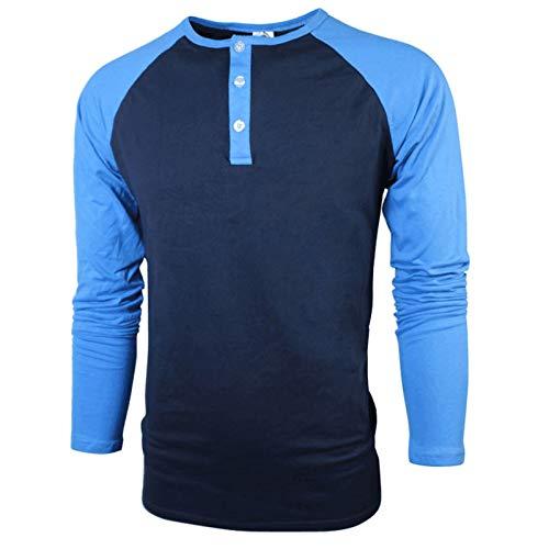 HOSD Men's Raglan Sleeve Men's Long-Sleeved Cotton T-Shirt Blue