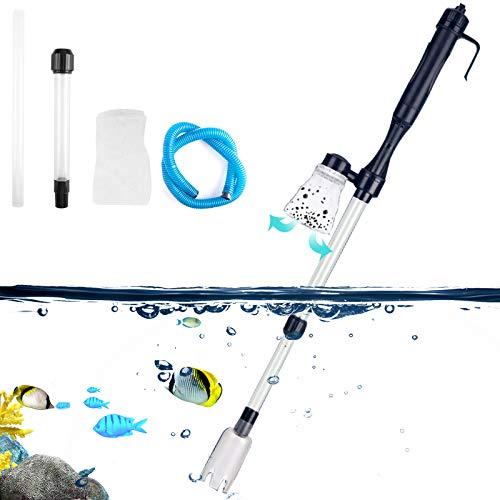 AUPERTO Aquarium Sand Kies Reiniger - Aquarium Vakuum Siphon Pump Wasserwechsel/Kies/Filter/Schmutzreinigung für Fish Tank