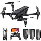 Drone GPS con videocamera HD 4K per Adulti, Drone WiFi 5G con Giunto cardanico a 2 Assi, Motore brushless, quadricottero RC Pieghevole con Ritorno a casa GPS, seguimi, Custodia, 3 batterie