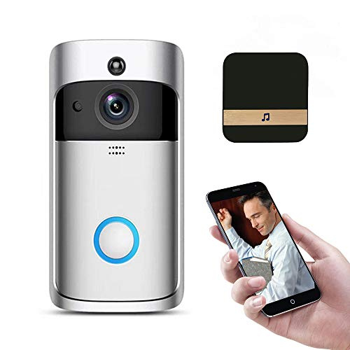 Video Deurbel, 720P HD, Draadloze Smart, Beveiligingscamera, met Indoor Chime, Twee-weg Talk & Video, Nachtzicht, 166° Brede Hoek, PIR Bewegingsdetectie, voor iOS & Android