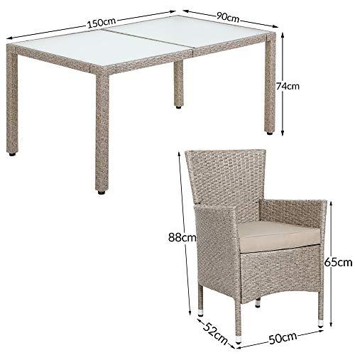 Deuba Poly Rattan Sitzgruppe Grau Beige 6 Stapelbare Stühle 1 Tisch 7cm Dicke Auflagen Sitzgarnitur Gartenmöbel Garten - 7