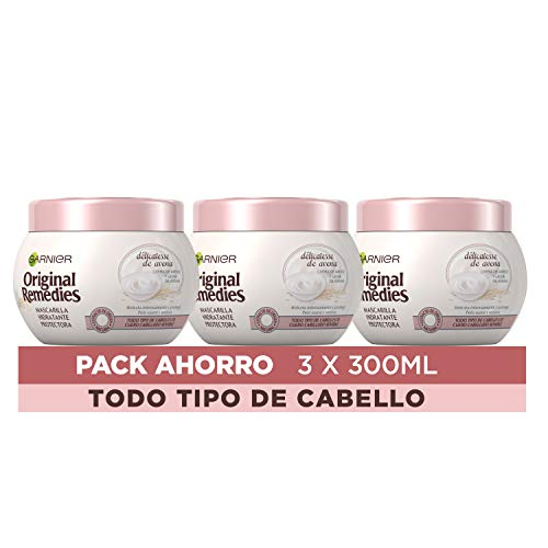 Garnier Original Remedies Delicatesse de Avena Mascarilla capilar para cuero cabelludo sensible - Pack de 3 x 300 ml