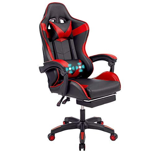 CO-Z Leather Gaming Chair with Lumbar Support Massage Wheeled High Back Recliner Computer Chair Ergonomic Gamer Chair Adj Height Headrest Armrest Footrest Office Computer Desk Chair for Adults, Red
